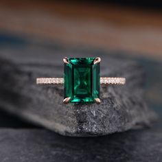 Lab Emerald Engagement Ring Solitaire Rose Gold Ring Plain Band Bridal Wedding Women Anniversary Gift For Her Birthstone May Simple - women gold rings Rose Gold Engagement, Solitaire Engagement, Emerald Jewelry, Rose Gold Emerald Ring, Emerald Cut Rings, Anniversary Gift For Her, Ring Verlobung, Or Rose, Ring Designs