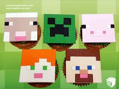 2D Faces Minecraft Cupcakes: Sheep, Creeper, Pig, Alex, Steve | Cakes by The Regali Kitchen