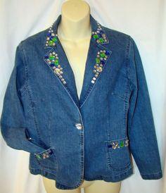 Rhinestone Jewel Denim Blue Jean Jacket Blazer HEARTS OF PALM 10 Petite Stretch #HeartsofPalm #JeanJacket