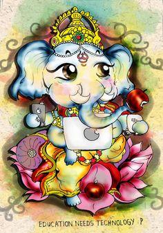 shree ganesh - apples by art-rinay on DeviantArt Ganesha Drawing, Lord Ganesha Paintings, Lord Shiva Painting, Ganesha Art, Shri Ganesh Images, Ganesha Pictures, Cute Krishna, Krishna Art, Cute Owls Wallpaper