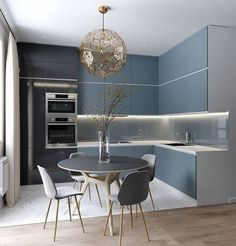 60 The Inspiring Luxury Kitchen Cabinet Colors And Stories - Consider When Buying Modern Kitchen Interiors, Luxury Kitchen Design, Kitchen Room Design, Kitchen Cabinet Colors, Home Decor Kitchen, Interior Design Kitchen, Kitchen Ideas, Kitchen Cabinets, Kitchen Dinning Room