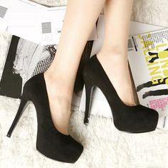 Basic Platform Suede Black High Heels
