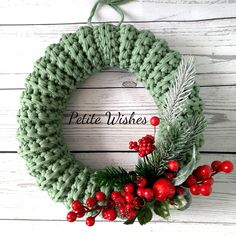 Christmas Wreath, Home Décor for Christmas, Christmas Present, Green Wreath for New Year Decoration Christmas wreath in natural green color will help you to have your home décor for Christmas look c Christmas Crochet Blanket, Crochet Christmas Wreath, Christmas Mesh Wreaths, Crochet Wreath, Deco Mesh Wreaths, Christmas Crafts, Christmas Christmas, Yarn Wreaths, Winter Wreaths