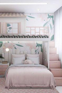 Twin Girl Bedrooms, Bed For Girls Room, Pink Bedrooms, Girl Room, Girls Bedroom, Kids Bedroom Designs, Cute Bedroom Ideas, Kids Room Design, Luxury Kids Bedroom