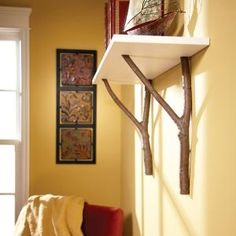 Need a quick, distinctive display shelf? Make this twig furniture style shelf from all-natural materials. Just cut the supports from branches, screw on a shelf, attach it to the wall and youre done!