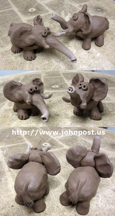 ♥ Clay Elephants with textured trunks-pinch pot cuteness