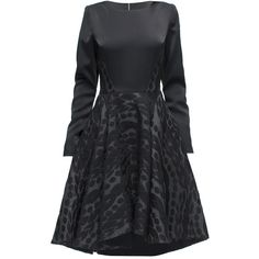 LATTORI Belissimo, Knee Length Long Sleeve Dress ($299) ❤ liked on Polyvore featuring dresses, longsleeve dress, mixed print dress, print dress, knee high dresses y long sleeve dresses
