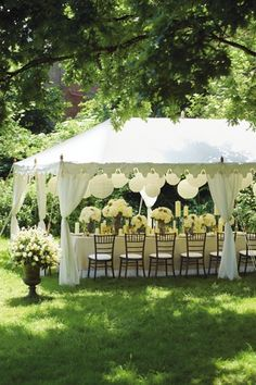 "Brides who dream about an outdoor wedding will often reserve a big white wedding tent ""just in case it rains.Decor Ideas · Rustic night wedding tent reception under the stars. Wedding Tent Decorations, Deco Champetre, Rehearsal Dinners, Wedding Venues, Wedding Ideas, Marquee Wedding, Small Wedding Receptions, Small Intimate Wedding, Wedding Simple"