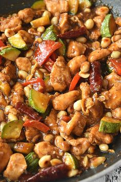 Panda Express Copycat and restaurant style ,easy ,delicious Kung Pao Chicken - so easy and best recipe of chicken tossed with bell peppers,chili peppers ,zucchini and peanuts in sauces to make an extremely flavorful side dish or entree Kung Pao Chicken Recipe Easy, Chicken Recipes Juicy, Sauce For Chicken, Kung Pao Chicken Recipe Panda Express, Chicken Chunks, Kung Pao Sauce Recipe, Panda Express Teriyaki Chicken, Cashew Chicken, Crock Pot