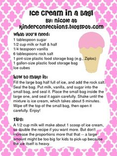 How to make ice cream in a bag!  Made with the kids.  Added food coloring, mint flavoring and chocolate chips! Delish! and Fun!