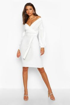 Womens Tall Off The Shoulder Wrap Midi Bodycon Dress - white - 6 Rehearsal Dinner Outfits, Grad Dresses, Maxi Dresses, Party Dresses, Short Dresses, Going Out Dresses, Elegant Outfit, White Dress, All White Bodycon Dress
