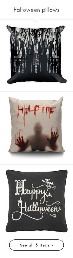 """""""halloween pillows"""" by baylissreb on Polyvore featuring home, home decor, throw pillows, halloween home decor, halloween throw pillows, halloween accent pillows, square throw pillows, holiday decorations, black and black home decor"""