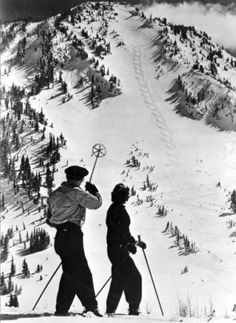 A skier has just cut figure eights on Rustler's Mountain, a popular ski hill at Utah's well-known Alta. (Photo Courtesy Utah State Historical Society)