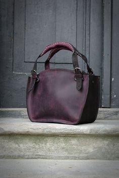 Leather Shoulder Bag with Clutch Set ladybuq office bag black and plum natural leather vintage style shoulder bag women tote unique handbag Schultertasche aus Leder mit Clutch von ladybuq auf Etsy Tote Handbags, Purses And Handbags, Luxury Handbags, Luxury Purses, Fall Handbags, Leather Purses, Leather Handbags, Leather Bags, Leather Backpacks
