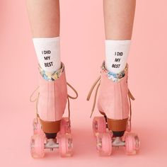 STYLE: i did my best did you do your best at the time with the resources you had? then kiss that whole self-doubt thing goodbye. wear these custom socks by working girls with our favorite mantra retro kitsch advertising photo art , roller skates and Pink Lady, Pink Girl, Pink Tumblr, Tout Rose, Foto Fashion, Pink Fashion, Fashion Top, Winter Fashion, Everything Pink