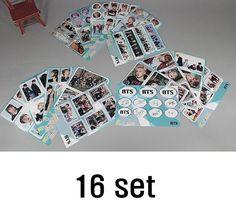 K-Pop BTS Photo Sticker Set (Pack of 16) Korean Singers Goods BANGTAN 16 Sheets