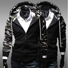 free ship plus size black camo sweat palace New TOP Mens Slim false 2 pieces Hooded Cardigan Coat men winter coat Jacket