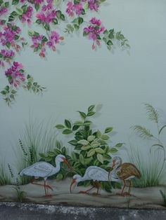 Love this bougainvillea Wall Painting Flowers, Painting On Glass Windows, Wall Painting Decor, Mural Wall Art, Tree Wall Art, Fence Painting, Painting Walls, Garden Fence Art, Garden Mural