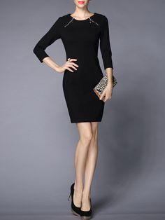 #AdoreWe #StyleWe GYALWANA Black Sheath 3/4 Sleeve Cotton-blend Mini Dress - AdoreWe.com