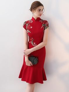 Nagodo Chinese Wedding Dress 2018 New Fish Tail Female Cheongsam Qipao Vestido Oriental Style Dresses Bride Qipao Long Red. Oriental Dress, Oriental Fashion, Oriental Style, Simple Dresses, Pretty Dresses, Summer Dresses, Ao Dai, Cheongsam Modern, Style Chinois