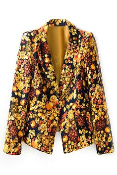 ROMWE | ROMWE Floral Print Pocketed Yellow Blazer, The Latest Street Fashion