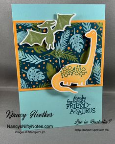 Oct 2019 - Dino Days by Stampin' Up! Kids Cards, Baby Cards, Dinosaur Cards, Diy Inspiration, Masculine Birthday Cards, Kids Birthday Cards, Stamping Up Cards, Animal Cards, Cards For Friends