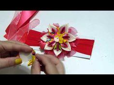 DIY. Como hacer flores dobles en cintas para r accesorios del cabello. d...
