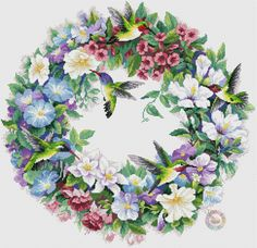 Hummingbird Wreath Cross stitch pattern Floral bird pattern White pink fuchsia Wild flower pattern B Cross Stitch Bird, Cross Stitch Flowers, Cross Stitch Charts, Cross Stitch Designs, Counted Cross Stitch Patterns, Cross Stitching, Cross Stitch Embroidery, Hummingbird Flowers, Bird Patterns