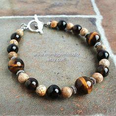 Black Brown Stone Mens Bead Bracelet, Tiger Eye Black Onyx Quartz Jasper, Mens Casual Bracelet, for Men, Guys, Dad