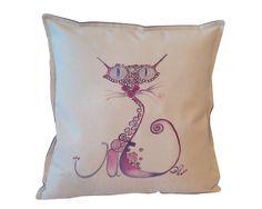Kot Zakręcony ręcznie malowany 45x45 w W.pelni Design na DaWanda.com