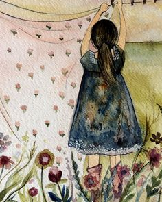 Laundry day-by Claudia Tremblay Great Paintings, Watercolor Paintings, Watercolors, Illustrations, Illustration Art, Claudia Tremblay, Laundry Art, Farm Pictures, Vintage Laundry
