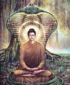 Mucalinda protecting Buddha from the storm after his great enlightenment.