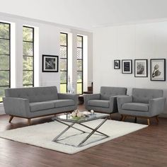 Corrigan Studio Saginaw 3 Piece Solid Living Room Set Upholstery: Expectation Gray