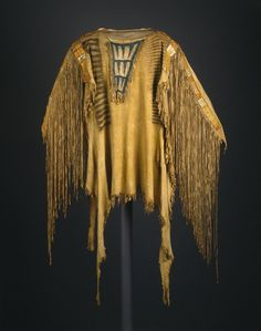 Sioux, Native American. Chief's War Shirt, early 19th century. Buckskin, dye, pigment, glass beads, porcupine quills, maidenhair fern stems, sinew, 30 x 20 in.  (76.2 x 50.8 cm). Brooklyn Museum, Henry L. Batterman Fund and the Frank Sherman Benson Fund, 50.67.11. Creative Commons-BY (Photo: Brooklyn Museum, 50.67.11_SL1.jpg)