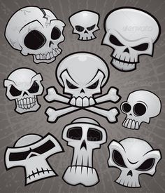 Cartoon Skull Collection #GraphicRiver A collection of vector cartoon skulls in various styles. High-resolution PSD and JPG files included along with Illustrator AI and EPS files.
