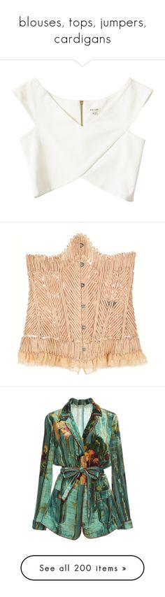 """""""blouses, tops, jumpers, cardigans"""" by julidrops ❤ liked on Polyvore featuring tops, crop top, shirts, crops, cream, womens-fashion, v neck tops, white wrap top, white wrap shirt and zip crop top"""