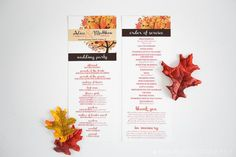 Country Autumn/Fall Windy Day Program - 2 sided. This listing includes: 4.25 x 11 program (double sided)  Choices: Quantity (increments of 25) Wording: you may submit your own invitation wording  Process: Place your order on etsy and add all the wording you want included in your program to the Notes section on your order. Then your custom invitation will be put together and a pdf proof will be returned to you within 48 hours. Once you receive the proof youll review and either make any final…