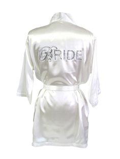 Double Bling Satin Bride Robe - Script Bridal Robe - Short Satin Bride Robe - Bride and Bridesmaid Robes on Etsy, $49.00
