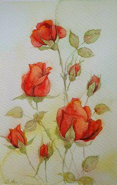 Aquarel schilderij rood ROSE TOPPEN originele kunst van