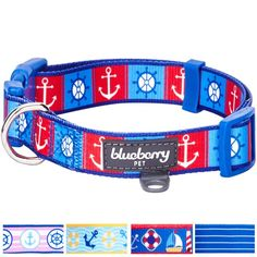 Blueberry Pet 5 Patterns 'Bon Voyage' Collection Designer Dog Collar with Nautical Anchors * You can get additional details at the image link.