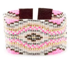 Pink Mix Beaded Cuff Bracelet