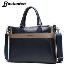 5a534cf8d Bostanten First Cow Genuine Leather Briefcase Business Shoulder Bag Men  Messenger Bags Fashion Patchwork Computer Laptop