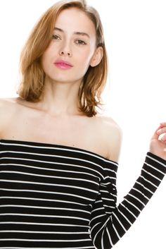 Bodycon Stripe off shoulder Dress