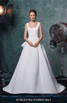 Women's Sareh Nouri Meryl Bow Back Faille Wedding Dress, Size - Ivory