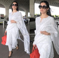 Divya Kumar in white suit Summer Fashion Outfits, Casual Summer Outfits, Fashion Dresses, Trendy Fashion, Fall Outfits, White Salwar Suit, White Anarkali, Indian Dresses, Indian Outfits