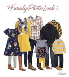 Trying to decide what to wear for family pictures? Here is the perfect coordinating look! It has lots of Navy, Mustard Yellow and Plaid! Picture perfect for a family look! This link also had 7 other looks including some that are perfect for Christmas! Fall Family Picture Outfits, Family Picture Colors, Family Portrait Outfits, Summer Family Photos, Family Posing, Fall Photos, Navy Family Pictures, Family Pictures What To Wear, Family Portraits What To Wear