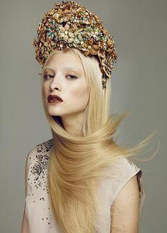 Designer's headpiece for Sagittarius from Swarovski Crystal Zodiac Calender in German Vogue.