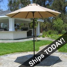 This QUICK SHIP 7.5 Foot Sunbrella Patio Umbrella features Crank Lift system with Deluxe Auto Tilt. Ships right away for $259.00 sale price.  Product ID : PS-SB27 #PatioUmbrella