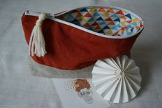 Pochette zippée lin coton intérieur colorée : Etuis, mini sacs par b-a-ba
