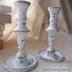 Update old brass candlesticks with chalk paint and distress for a shabby chic decor